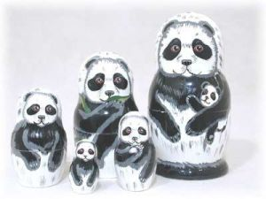 I don't think pandas live in groups like that for they're solitary creatures. But this set is adorable.