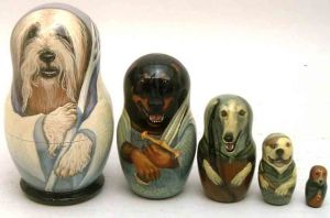 This nesting doll set depicts dogs as Lord of the Rings characters. I know it's crazy, right?