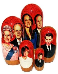 Consists of Will and Kate, Elizabeth II and Philip, Charles, Diana, and Harry. All in a red background.