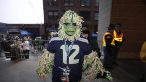Then again, he might be a sasquatch who keeps to himself in the forest and only turns out for Seahawks games. Why Bigfoot enthusiasts don't notice, we'll never know.