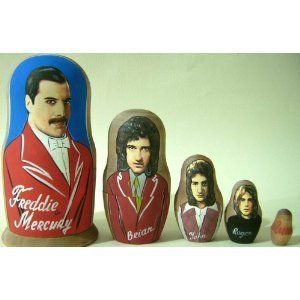 Depicts each member of Queen and their logo. There are lots of songs from this group that get stuck in your head.