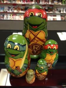 Has the 4 Ninja Turtles and their mentor. Yes, Ninja Turtle fans, this set exists.