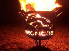 It's a fire pit with the Denver Broncos logo. But the horse looks especially menacing in flames.