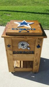 Yes, it's cooler even though it's made of wood siding and resembles an end table and a wooden chest. Yes, those Cowboys fan can be pretty creative.