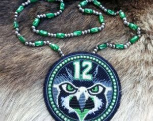 This one shows a realistically ferocious hawk in beaded for but in Seattle Seahawk colors. Amazing artistry.