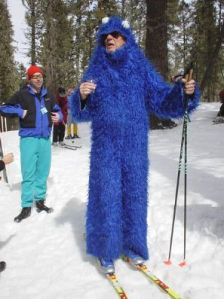 Well, at least a Cookie Monster costume could keep anyone warm. Still, I guess there will be free cookies at the finish line.