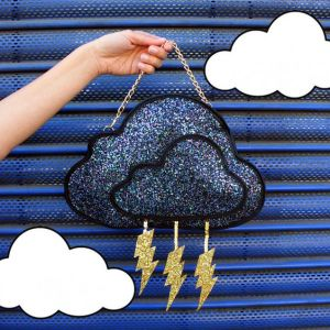 Well, it's a storm cloud purse with lightning bolts dangling from it. The cloud is in beads.