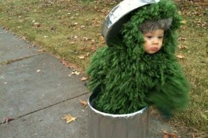 This is a clever Oscar the Grouch costume. Yes, I know I have a few of these. But I really like this one. Makes him seem like a Christmas tree in a trash can.
