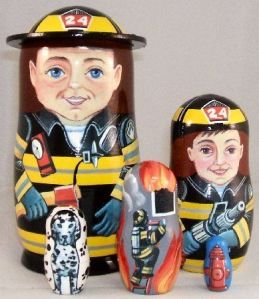 The large one even has its own hat. One even depicts a fireman trying to rescue someone from a building.