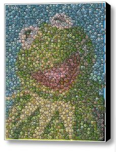 Yes, this is Kermit bottle cap portrait. I know it seems a bit strange. But it's really a good representation of the most famous Muppet.