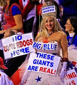 I guess this is a Giants parody of the Patriots' Celebrity Queen. Makes sense. At least the signs are funnier.