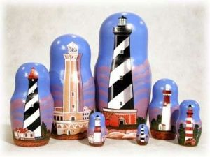 Noticed how the lighthouses are in different colors and styles. I guess the stripes seem to increase their visibility.