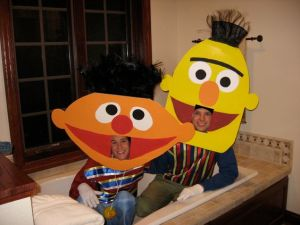 Like those Bert and Ernie heads. Of course, that doesn't stop people from thinking they're more than friends.
