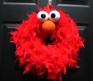 And like Elmo, it's red, fuzzy, and has big eyes and a nose. A perfect Elmo representation.