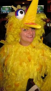 I wonder how often how many times people clean up after Big Bird when he visits them. Because he probably sheds a lot of yellow feathers. Still, this one is brilliant.