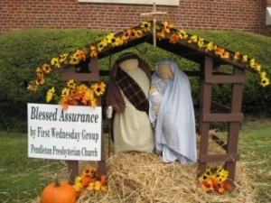 Seems like they didn't have the time and the energy to have shepherds, livestock, and wise men. but you have to like the fall display though.