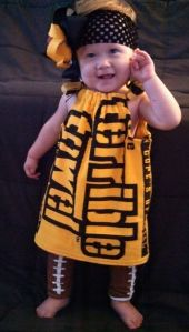 Yes, Myron Cope's old Terrible Towel can be used to make this adorable dress for a toddler. So cute.
