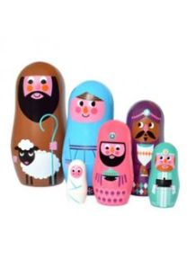 There are a lot of nativity scene nesting doll sets out there. This one was made for small children. So cute.