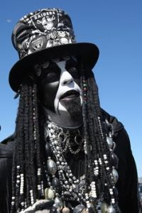 Doesn't help that they dress in creepy black and white costumes. And I sure as hell wouldn't want to run into this guy.