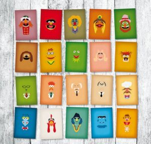 Each one shows a Muppet with a color background of their complexion. Consists of 20 in all.