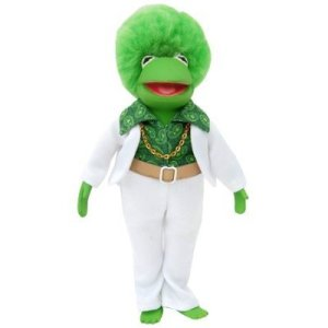 "From Tough Pigs: ""We know what Kermit looked like in the 70s, and it certainly wasn't the love child of Don King and Barry Gibb."" Another comment: ""Who'd have thought you could admire Kermit's outtasite 'fro AND use him to wash dishes?"""