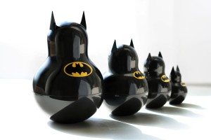 Each one is of Batman in his batsuit and bat logo. Don't ask. Clever.