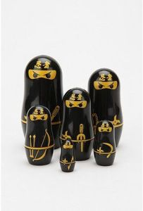 Yes, it's another ninja nesting doll set. But these are dressed and black and have knives on them.