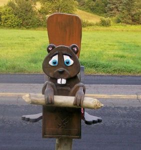 At least its chomping on a log over a wooden mailbox. Still, it's adorable.