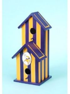 This one even has two holes which is just as great for the birds in the winter. Like how it has purple and yellow stripes.