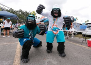 No need to worry, they're Dolphins fans just here for the big game. How they got into street clothes, I'll never know.