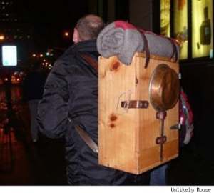 For instance, this one is just a wooden box with straps. That's all. But seems practical.