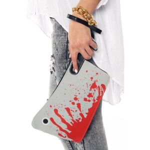 Doesn't help that it's a bloodied cleaver as if it's been used for an ax murder. Yeah, not a good purse to have.