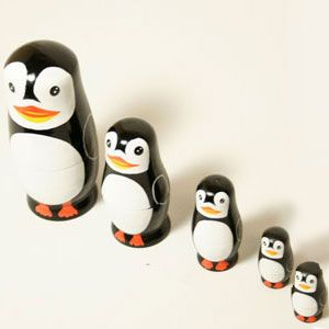 About time, I included a penguin nesting doll set. Because these creatures are adorable. Love the beaks and tuxedos.
