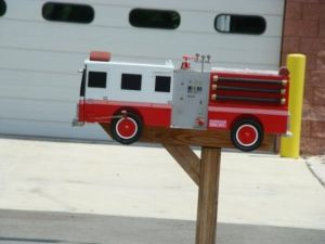 There seem to be a lot of firetruck mailboxes. But this is the one I think really stands out for me. Love the detail.