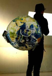This globe backpack certainly speaks for itself. Still, will weigh you down a lot.