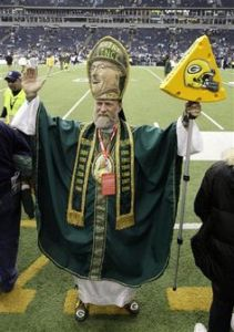 "Saint Vince is a legend among Green Bay Packers fans that I just had to include him. By the way, the ""Vince"" here is Vince Lombardi. And he even has a cheese staff, too."