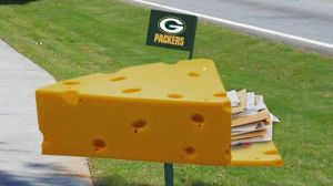 "Then again, it's only fitting since their fans are called ""Cheeseheads."" So they have to come with a cheesy mailbox, too."