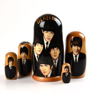 Yes, it's another Beatles nesting doll set. But this one depicts them early in their career. That's different.