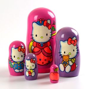 Each is depicted in a shade of pink and purple. Each features Hello Kitty in a different outfit.