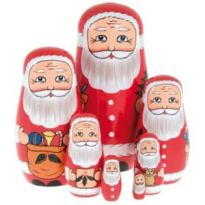 Each of these has a different Santa though their faces mostly look the same. And so do their clothes.