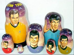 The Scotty and Dr. McCoy nesting dolls don't seem to look right on this. Also, there's no Chekov.