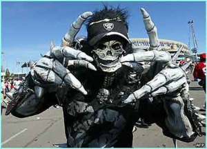 Yes, they may be big and bony. But you'd certainly not want this Raider's fan to show up at your house at night.