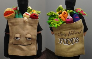 Yes, these veggies and bag are muppets. And yes, they talk and sing. Kind of creepy if you think about it.