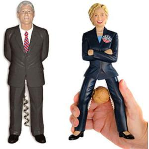 "These days, referring Hillary as a ""nutcracker"" might be seen as a compliment. This especially when you have her running against Donald Trump. As for Bill, you know why he's got a corkscrew."