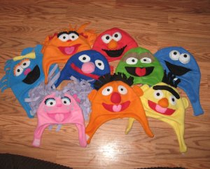 These are all made from fleece with the faces of all your favorite Sesame Street characters. So cute.