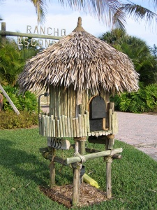 Guess this is made from straw and bamboo if it's not from some replica plastics. Better than the tiki statue one.