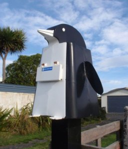 Yes, it's a cute little penguin mailbox. And it's in an environment you'd probably won't see penguins. At least outside of nature shows.