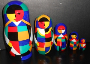 I think they're supposed to be in the style of Malevich. Have no idea who that is.