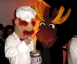 Yes, you read that right. He's making a chocolate moose with Hershey's. And yes, it's a big moose.
