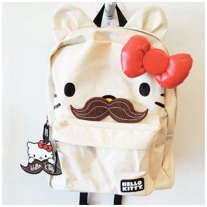 Now a Hello Kitty backpack is one thing. But one with a mustache? That's pretty messed up.